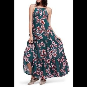 Free people garden party maxi dress floral Green L